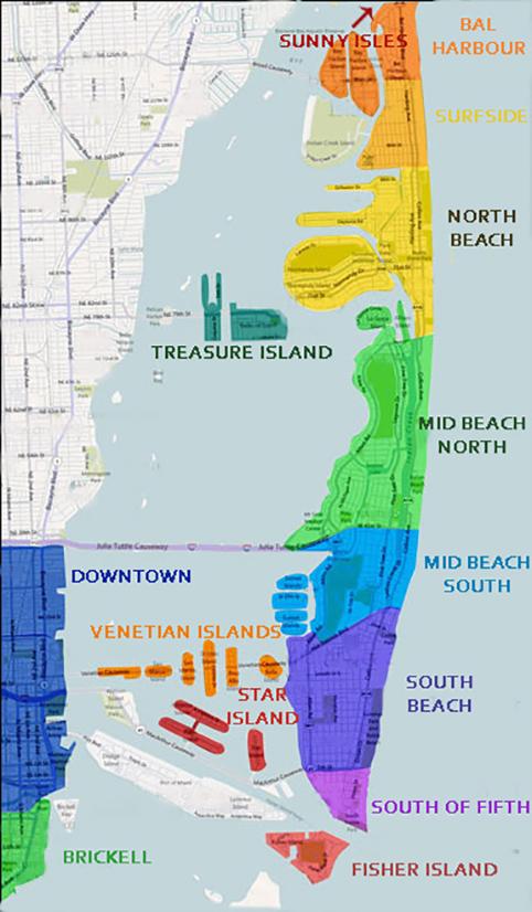 miami, florida quartieri e condomini mappa